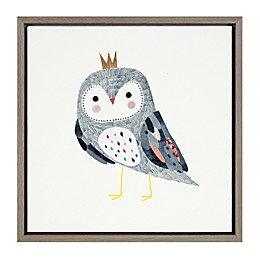 Marmalade™ Crowned Critter Owl II 16-Inch x 16-Inch Framed Canvas Wall Art in Grey Wash