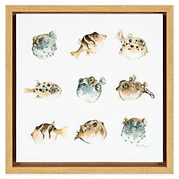 School of Puffer Fish 12-Inch Square Framed Canvas Wall Art