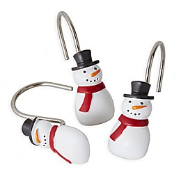 Scenic Snowman Shower Curtain and Hook Set