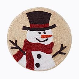 "Scenic Snowman 25"" x 25"" Bath Rug in Beige"