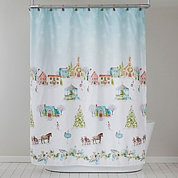 Hometown Holiday Shower Curtain and Hooks Set