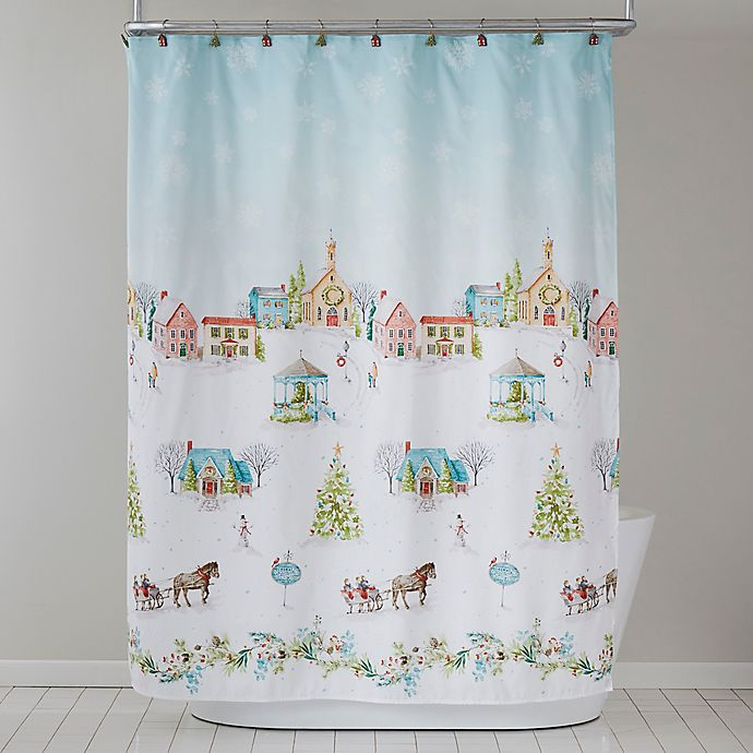 Alternate image 1 for Hometown Holiday Shower Curtain and Hooks Set