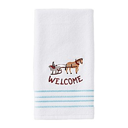 Hometown Holiday Hand Towel in White
