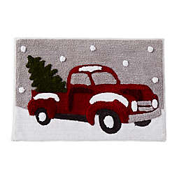 "Holiday Trucks 30"" x 20"" Tufted Bath Rug in Red"