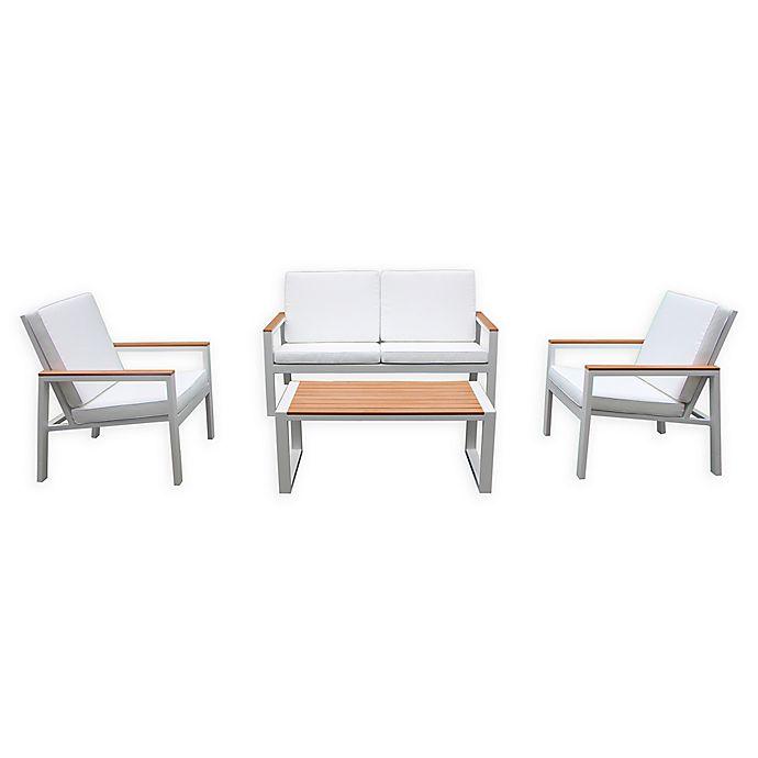 Alternate image 1 for Pangea Home Santa Monica 4-Piece Aluminum Patio Conversation Set in White/Teak