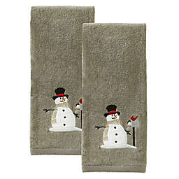 SKL Home Snowman with Mailbox Hand Towels in Grey