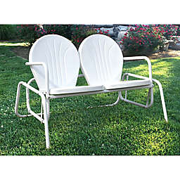 AmeriHome Double Seat Metal Patio Glider Chair in White