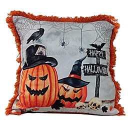 Haunted Pumpkins Square Throw Pillow