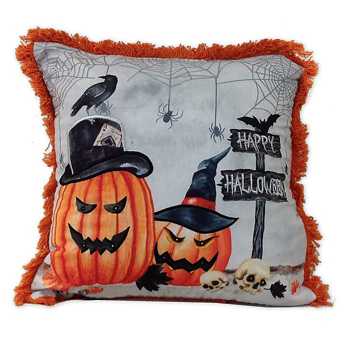 Alternate image 1 for Haunted Pumpkins Square Throw Pillow