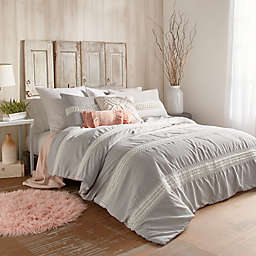 Peri Home Tufted Dot Stripe Twin XL Comforter Set in Grey
