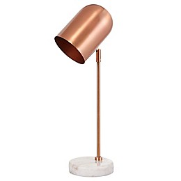 Safavieh Charlson LED Table Lamp in Copper/White with Metal Shade