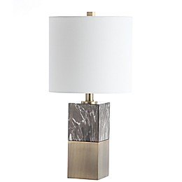 Safavieh Kingsley LED Table Lamp in Dark Brown with Cotton Shade