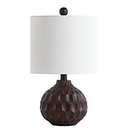 Safavieh Lucca LED Table Lamp in Dark Brown with Cotton Shade