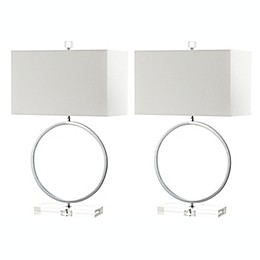 Safavieh Phoenix LED Table Lamps in Beige with Cotton Shades (Set of 2)