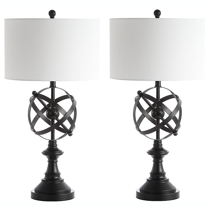 Safavieh Myles LED Table Lamps in Black with Cotton Shades (Set of 2)