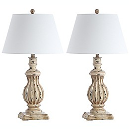 Safavieh Tanner LED Table Lamps in Antique Brown with Cotton Shades (Set of 2)