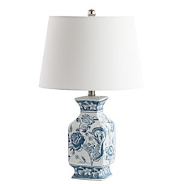Safavieh Mayson Table Lamp with Fabric Shade in Blue/White