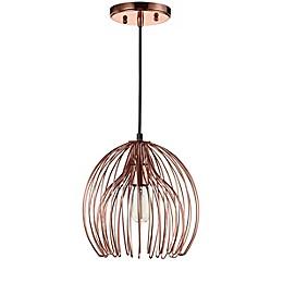 Safavieh Deena 1-Light Downrod Mount Pendant Light in Copper