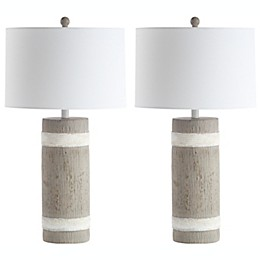 Safavieh Brixton Table Lamps in Brown/White with Off-White Cotton Shade (Set of 2)