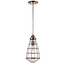 Safavieh Henni Single-Light Downrod Mount Pendant Light in Copper
