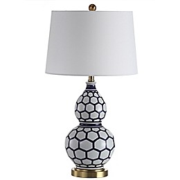 Safavieh Halona LED Table Lamp in Blue/White with Off-White Cotton Shade