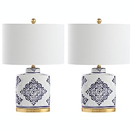 Safavieh Kamdyn Table Lamps in Blue/White (Set of 2)
