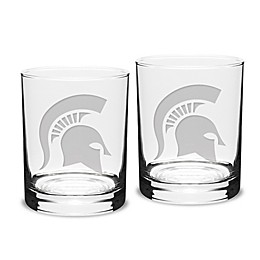 Michigan State University 14 oz. Traditional Double Old Fashion Glasses (Set of 2)