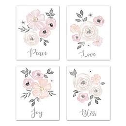 Sweet Jojo Designs® Watercolor Floral 4-Piece Wall Art Set in Pink/Grey