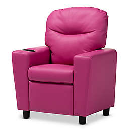 Baxton Studio Elly Kids Faux Leather Recliner in Magenta