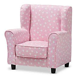 Baxton Studio Nora Hearts Kids Chair in Pink/White