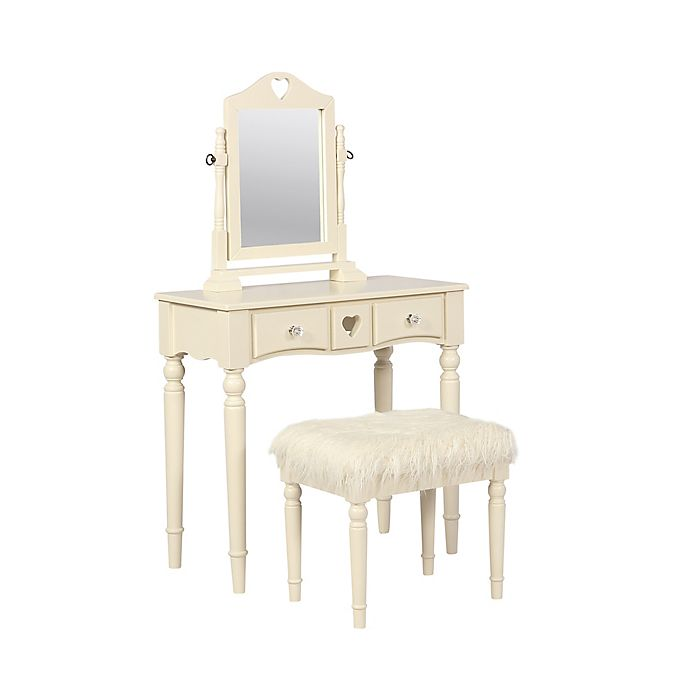Linon Jackson Vanity Set With Mirror Reviews: Linon Home Décor Sammie 2-Piece Vanity Set In White