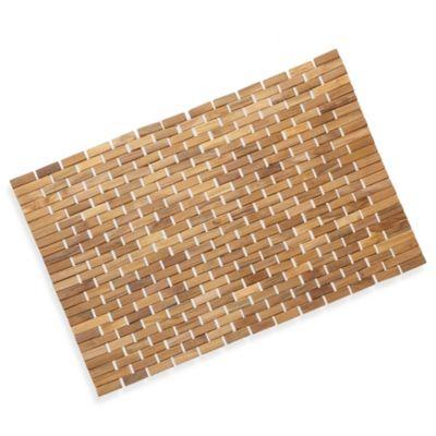 Conair 174 Pollenex Solid Teak Roll Up Shower Mat Bed Bath