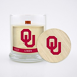 University of Oklahoma 8 oz. Linen Candle with Wood Lid