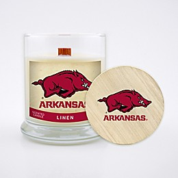University of Arkansas 8 oz. Linen Candle with Wood Lid