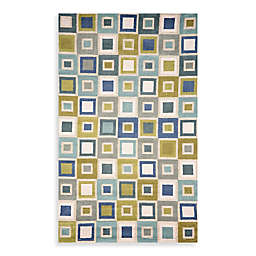 Trans-Ocean Big Squares 2' x 3' Indoor/Outdoor Accent Rug in Ocean