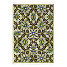 Cabana Bay Capri Indoor and Outdoor Rug in Green/Brown
