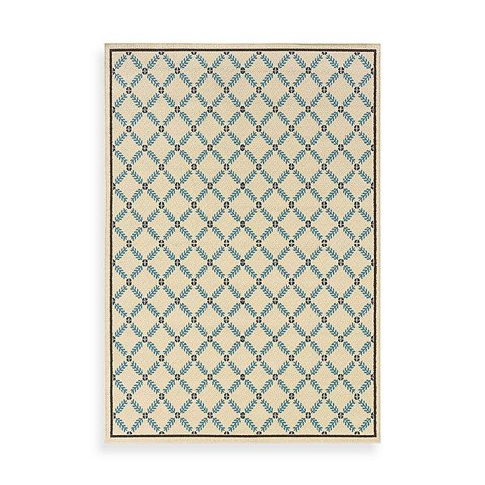 Alternate image 1 for Caspian Leaf Diamond Indoor/Outdoor Accent Rug in Ivory/Blue