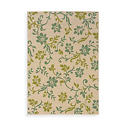 Cabana Bay Capri Ivory/Blue Floral Indoor/Outdoor Rug