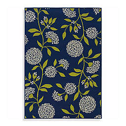 Cabana Bay Capri Mums Indoor/Outdoor Rug in Navy