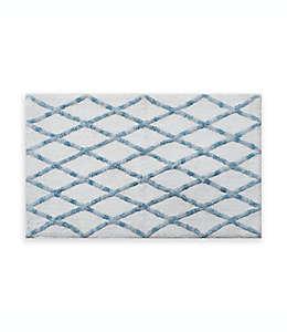 Fashion Lattice Tapete para baño de 50.8 x 83.82 cm en azul mar/blanco
