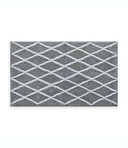 Fashion Lattice Tapete para baño de 50.8 x 83.82 cm en gris/blanco