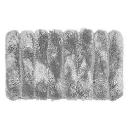 """Signature Spa 20"""" x 32"""" Pearl Stripe Bath Rug in Silver"""