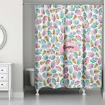 Designs Direct Palm Leaves Pattern Shower Curtain