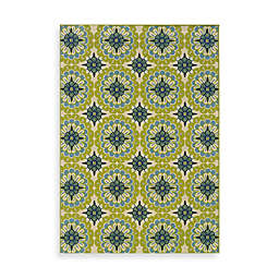 Cabana Bay Capri Green/Blue Medallion Indoor/Outdoor Rug
