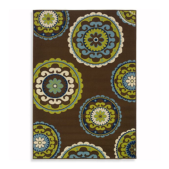 Alternate image 1 for Cabana Bay Capri 7-Foot 10-Inch x 10-Foot 10-Inch Indoor/Outdoor Rug in Brown
