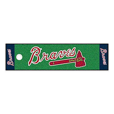 MLB Atlanta Braves 6-Foot Putting Green Mat with Ball Cup Back-Stop