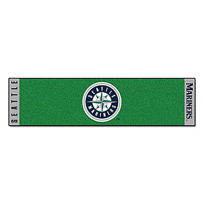 MLB Seattle Mariners 6-Foot Putting Green Mat with Ball Cup Back-Stop