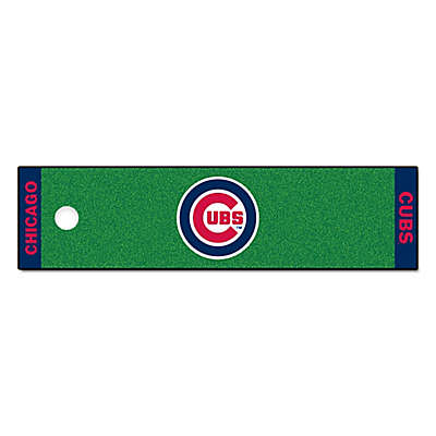 MLB Chicago Cubs 6-Foot Putting Green Mat with Ball Cup Back-Stop