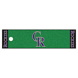MLB Colorado Rockies 6-Foot Putting Green Mat with Ball Cup Back-Stop