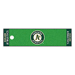 MLB Oakland Athletics 6-Foot Putting Green Mat with Ball Cup Back-Stop